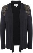 Andrea Jovine Black Embellished Shoulder Open Cardigan