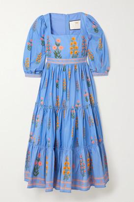 Agua Bendita Miel Tiered Floral-print Cotton-poplin Midi Dress - Blue