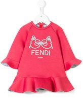 Fendi textured print ruffled dress