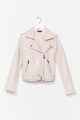 Nasty Gal Womens That's Our Moto Belted Faux Leather Jacket - Pink - 12, Pink