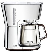 Krups Silver Art Collection 10 European Cup Thermal Carafe Coffee Maker, Stainless Steel/Chrome