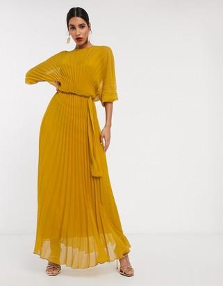 Asos Design DESIGN Eivissa blouson pleated maxi dress with self belt-Yellow