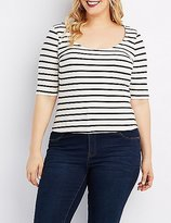 Charlotte Russe Plus Size Striped Zip-Back Crop Top