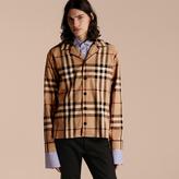 Burberry Check Cotton Pyjama-style Shirt , Size: Xs, Brown