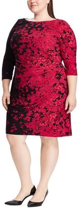 Chaps Plus Size Floral Gathered Shift Dress