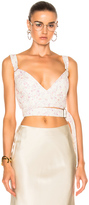 Calvin Klein Collection Linnetra L Faded Leather Floral Bouquet Bustier