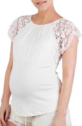 Cache Coeur Sofia Lace Sleeve Maternity/Nursing Pajama Top