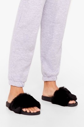 Nasty Gal Womens Teddy When You Are Faux Fur Sliders - Black - 7, Black