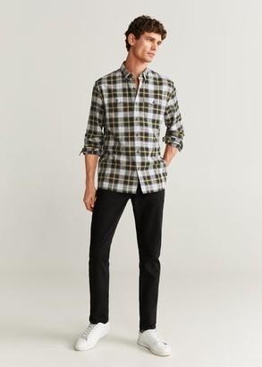 MANGO MAN - Regular fit check cotton shirt black - XS - Men