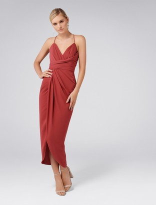 Forever New Charlotte Drape Maxi Dress - Soft Berry - 4