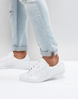 Armani Jeans Leather Logo Trainer In White
