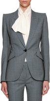 Alexander McQueen Birdseye Classic Suiting Jacket, Black/White
