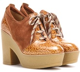 See by Chloe Platform Lace-up Suede And Leather Ankle Boots