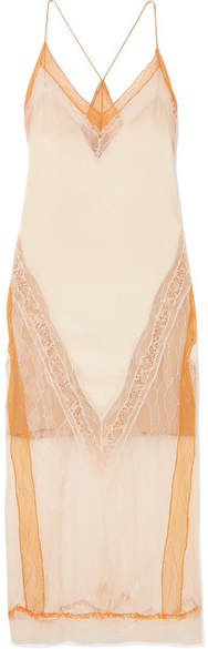 Jonathan Simkhai Lace-trimmed Satin Midi Dress - Orange