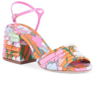 Fendi Floral-Print Block-Heel Sandals