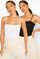 boohoo Spagetti Strap Ribbed Body Two Pack