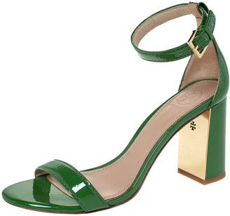 Tory Burch Green Patent Leather Cecile Block Heel Ankle Strap Sandals Size 36.5