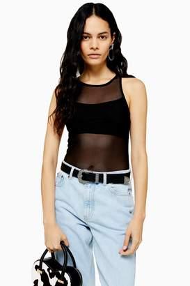 Topshop Womens Mesh Ruched Bodysuit In Black - Black