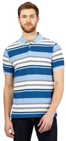 Maine New England Big And Tall Blue Striped Print Tailored Fit Polo Shirt