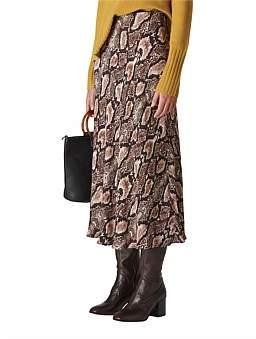 Whistles Snake Print Bias Cut Skirt