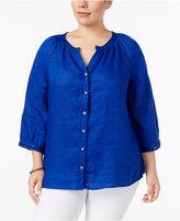 Charter Club Plus Size Linen Crochet-Trim Shirt, Created for Macy's