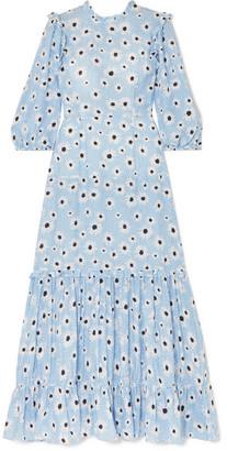 Rixo Monet Ruffled Floral-print Cotton And Silk-blend Dress - Blue