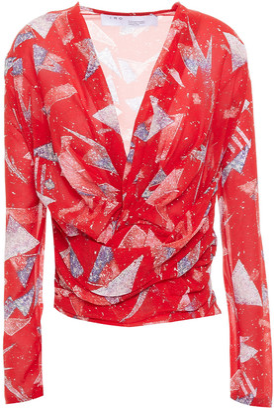 IRO Gabot Pleated Printed Silk-blend Crepon Top