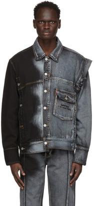 Feng Chen Wang Blue and Black Levis Edition Denim Oversized Trucker Jacket