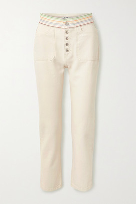 RE/DONE Blanca Miro Stove Pipe Embroidered High-rise Straight-leg Jeans - Off-white