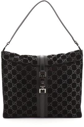 Gucci Vintage Fold Over Shoulder Bag GG Suede Medium