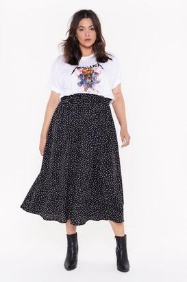Nasty Gal Womens High-Waisted Plus Size Polka Dot Skirt - Black