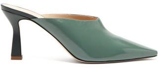 Wandler Lotte Leather Mules - Womens - Dark Green