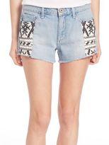 Paige Keira Pattern-Inset Denim Shorts