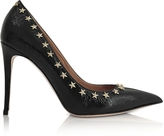 RED Valentino Black Hammered Leather Pump w/Stars