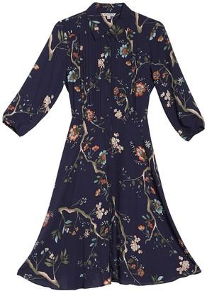 Nanette Nanette Lepore 3/4 Length Sleeve Floral Pintuck Shirt Dress