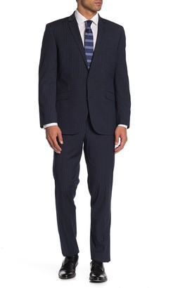 Kenneth Cole Reaction Navy Plaid Two Button Notch Lapel Performance Stretch Slim Fit Suit