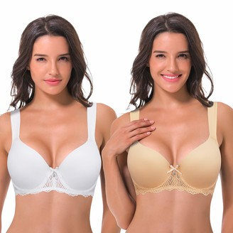 Curve Muse Womens Lightly Padded Underwire Lace Bra with Padded Shoulder Straps - White - 44DD