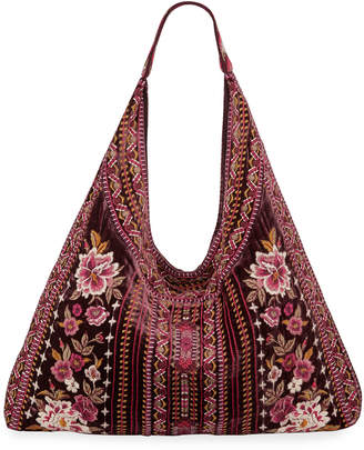 Johnny Was Valmere Embroidered Velvet Hobo Bag