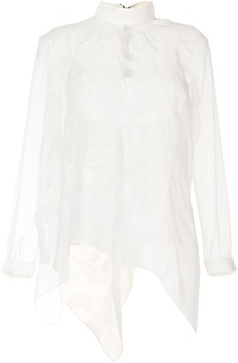 Sacai Embroidered Lace-Overlay Blouse