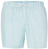 Topman Green Stripe Spliced Swim Shorts