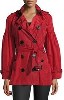 Burberry Middlemere Bell-Sleeve Short Trench Coat, Red