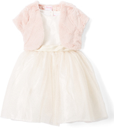 Nannette Light Pink A-Line Dress & Faux Fur Bolero - Girls