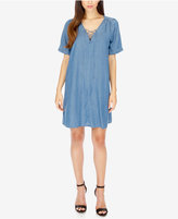 Lucky Brand Lace-Up Chambray Shift Dress