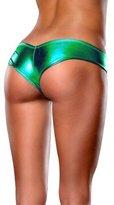 Rokou Women's Sexy Metallic Micro Panty Thong PU Lingerie Underwear