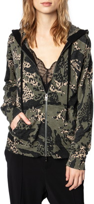 Zadig & Voltaire Camo Print Cashmere Zip Sweater