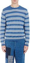 Loewe Men's Striped Linen-Blend Jacquard Sweater