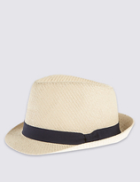 M&s Collection Double Weave Textured Trilby Summer Hats