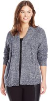 Leo & Nicole Women's Plus-Size Open Cardigan Sweater with Cable