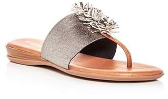 Andre Assous Women's Novalee Leather Fringe Demi Wedge Sandals