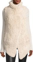 Neiman Marcus Faux-Fur Cascade Vest, Beige